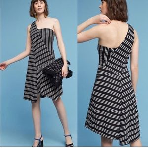 Maeve Anthropologie Moka One Shoulder Stripe Dress